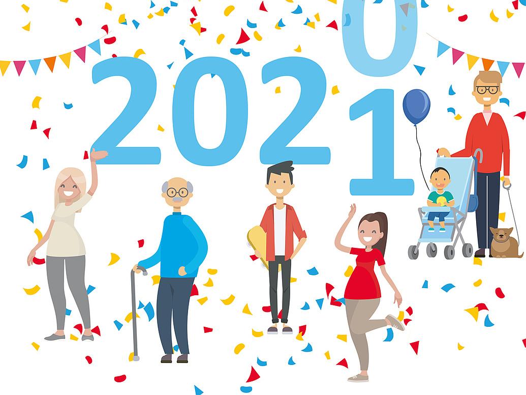 Eine Illustration, zentral ist die Jahreszahl 2021 in hellblau zu sehen, drumherum stehen unterschiedliche Menschen, die lachen.