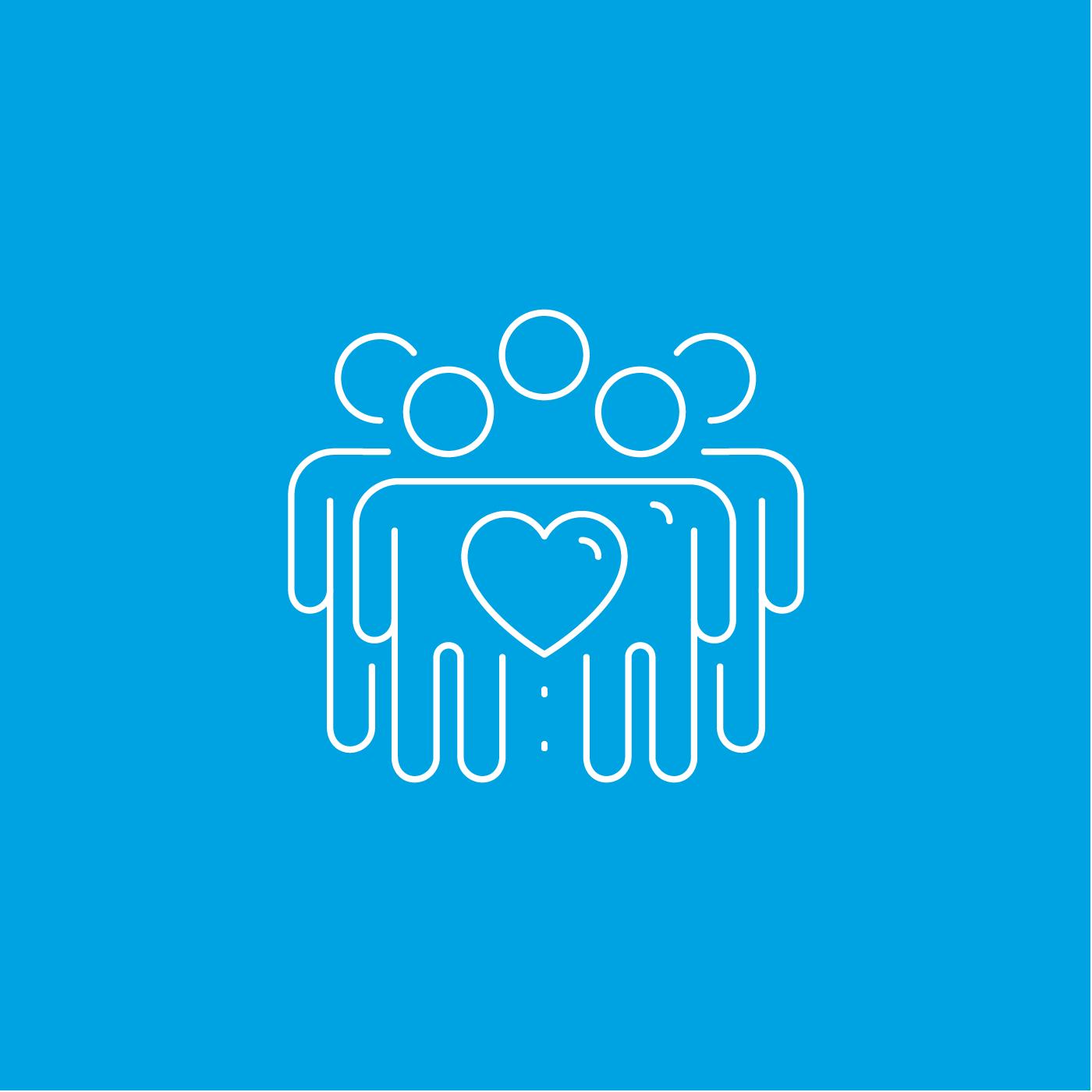 Piktogramm: Eine minimalistische Menschengruppe, in deren Mitte ein Herz steht.